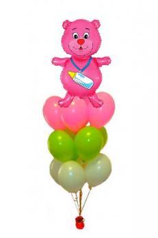 Фонтан из шаров Мишка девочке