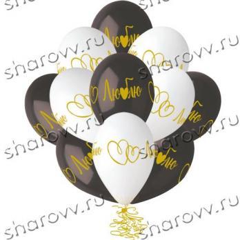 """Воздушные шары с гелием """"Люблю, сердце"""""""