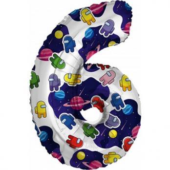 """Шар цифра """"6"""" Космонавтики"""