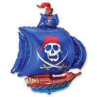 """Шар на палочке """"Пиратский корабль синий"""""""