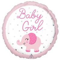 "Шар круг ""BABY GIRL Розовый слоник"""