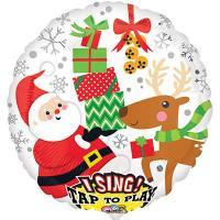 Шар музыкальный Санта с оленем