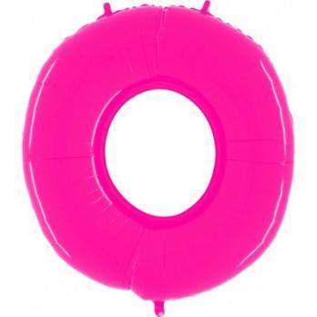 Шар Цифра 0 Яркий Розовый