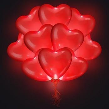 Светящиеся шары с гелием - сердца