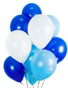 Шары латекс Синий, белый, голубой