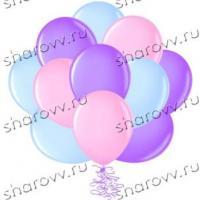 Шары латекс Голубой, розовый, сиреневый