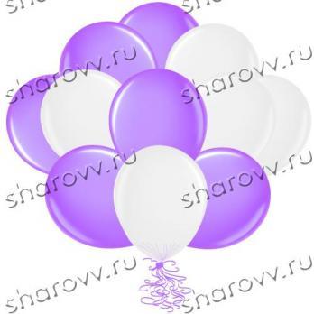 """Шары латекс 35см. """"Фиолетовый, белый"""""""
