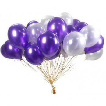 Шары латекс Фиолетовый, белый