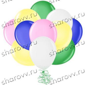 """Шары латекс 35см. """"Белый, желтый, розовый, зеленый, синий"""""""