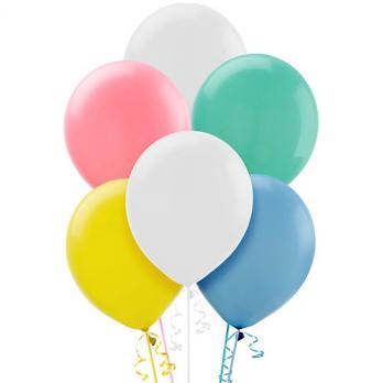 Шары латекс 35см. Белый, желтый, розовый, зеленый, синий