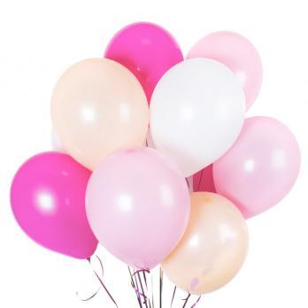 Шары латекс 35см. Фуксия, розовый, айвори, белый