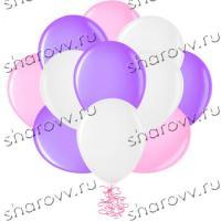 Шары латекс 35см. Белый, розовый, фиолетовый