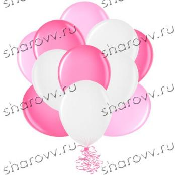 Шары латекс 35см. Белый, розовый, фуксия