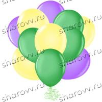 Шары латекс 35см. Желтый, зеленый, сиреневый