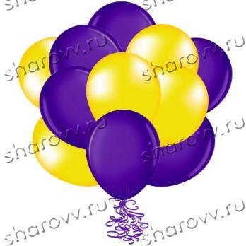 "Шары латекс 35см. ""Желтый, фиолетовый"""