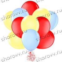 Шары латекс 35см. Желтый, голубой, красный