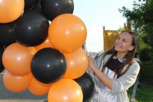 """Шары латекс 35см. Оранжевый, черный"""""""