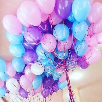 """Шары латекс 35см. Белый, голубой, розовый, фиолетовый"""""""