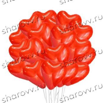 50 красных шаров сердец латекс