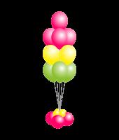 Фонтан из шаров Фуксия, желтый, зеленый