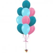 """Фонтан из шаров """"Фуксия, голубой, зеленый"""""""