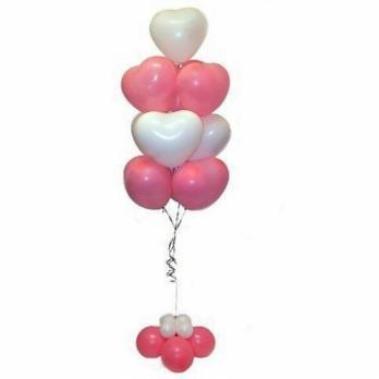 """Фонтан из шаров сердец """"Розовый, белый"""""""