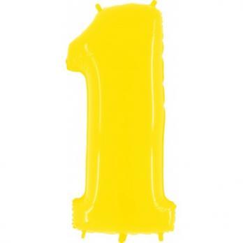 """Шар """"Цифра 1"""" Яркий Желтый"""