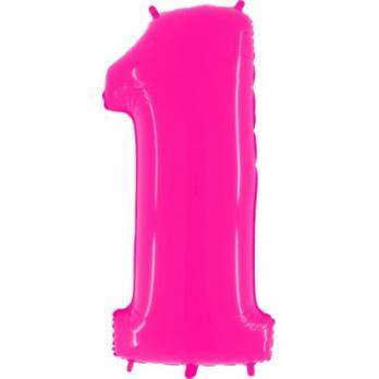 Шар Цифра 1 Яркий Розовый