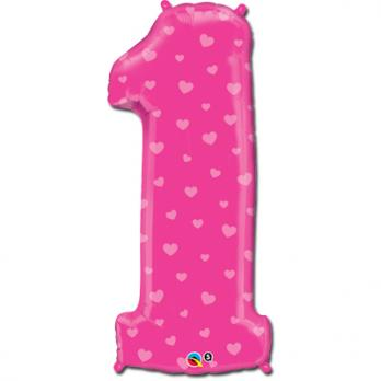 Шар Цифра 1 Сердечки Розовый