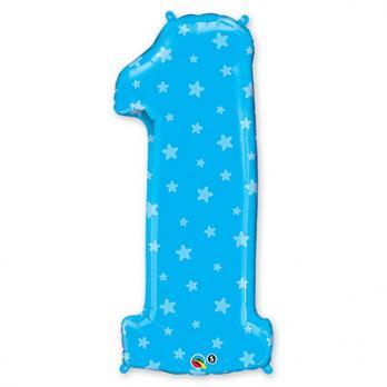 Шар Цифра 1 Звездочки Синий