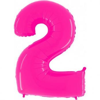 Шар Цифра 2 Яркий Розовый