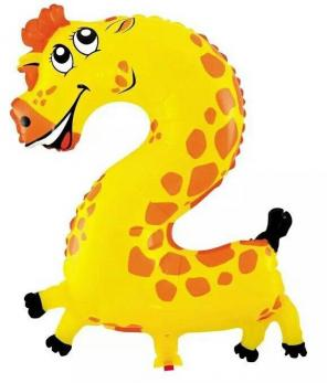 "Шар ""Цифра 2"" Жираф"