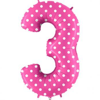 Цифра 3 Горошек на розовом