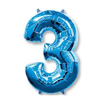 Шар Цифра 3 Синий