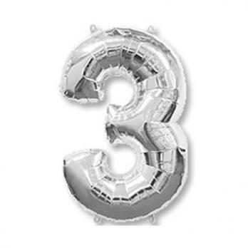 Шар Цифра 3 Серебро