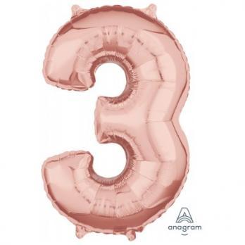Шар Цифра 3 65см Розовое золото