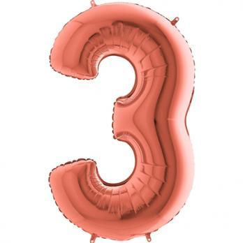 """Шар """"Цифра 3"""" Розовое золото"""