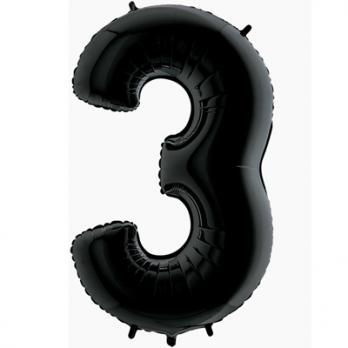 Шар Цифра 3 Черный