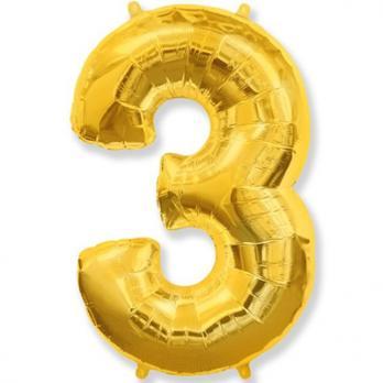 """Шар """"Цифра 3"""" Золото"""