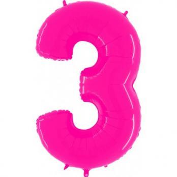"""Шар """"Цифра 3"""" Яркий Розовый"""