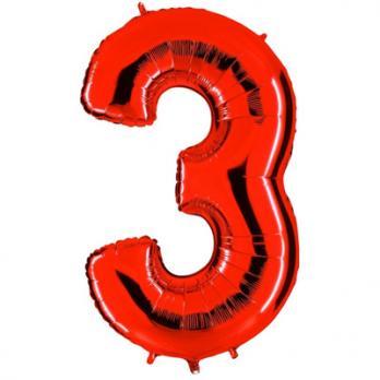 Шар Цифра 3 Красный