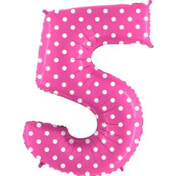 """Шар Цифра 5"""" Горошек на розовом"""