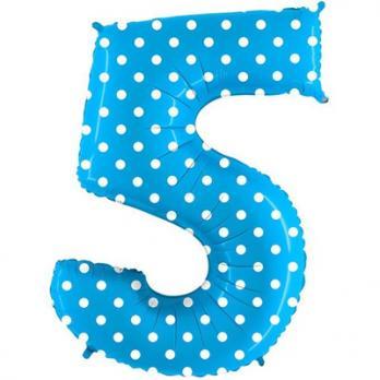 "Шар Цифра 5"" Горошек на голубом"