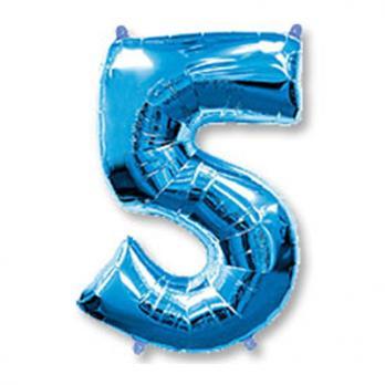 Шар Цифра 5 Синий