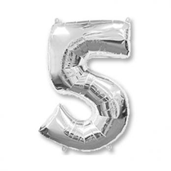 Шар Цифра 5 Серебро
