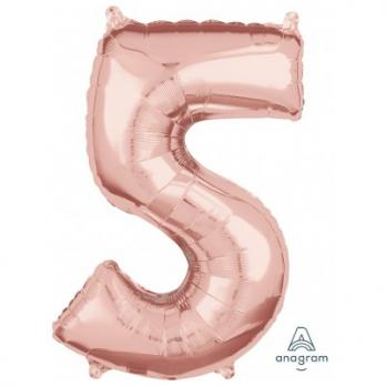 Шар Цифра 5 65см Розовое золото