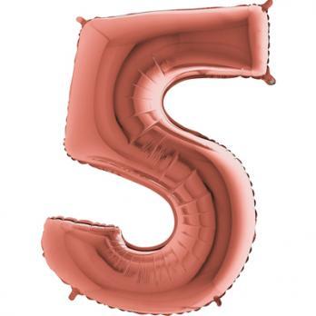 """Шар """"Цифра 5"""" Розовое золото"""