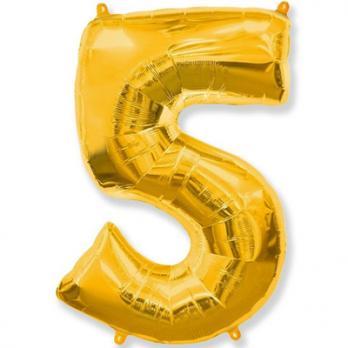 """Шар Цифра 5"""" Золото"""