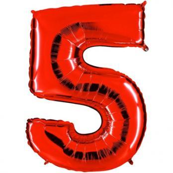 Шар Цифра 5 Красный