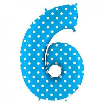 Шар Цифра 6 Горошек на голубом